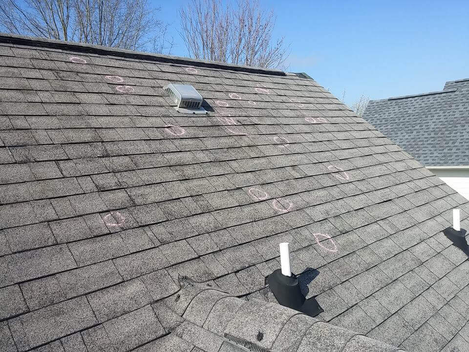 roof marked for leaks or damage